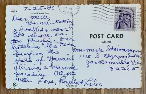back of a used postcard sent from Hawaii