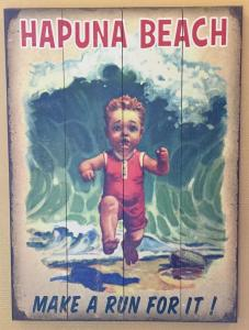 Hapuna Beach Wood Sign