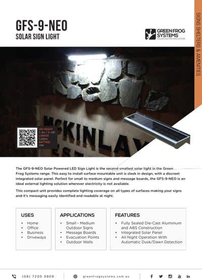 GFS-9-NEO solar sign light brochure