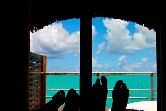 The View from our over-water bungalow at the Four Seasons Resort, Bora Bora.