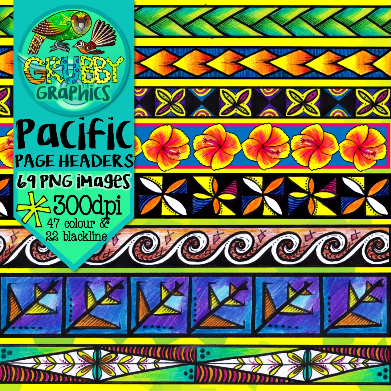 Pacific Island Themed Page Headers Footers Amp Borders
