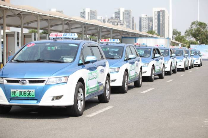 E-taxis belonging to Shenzhen's taxi fleet, which has become fully electric, are pictured on January 20, 2019 in Shenzhen, China. HANDOUT/BYD/Li Jianong