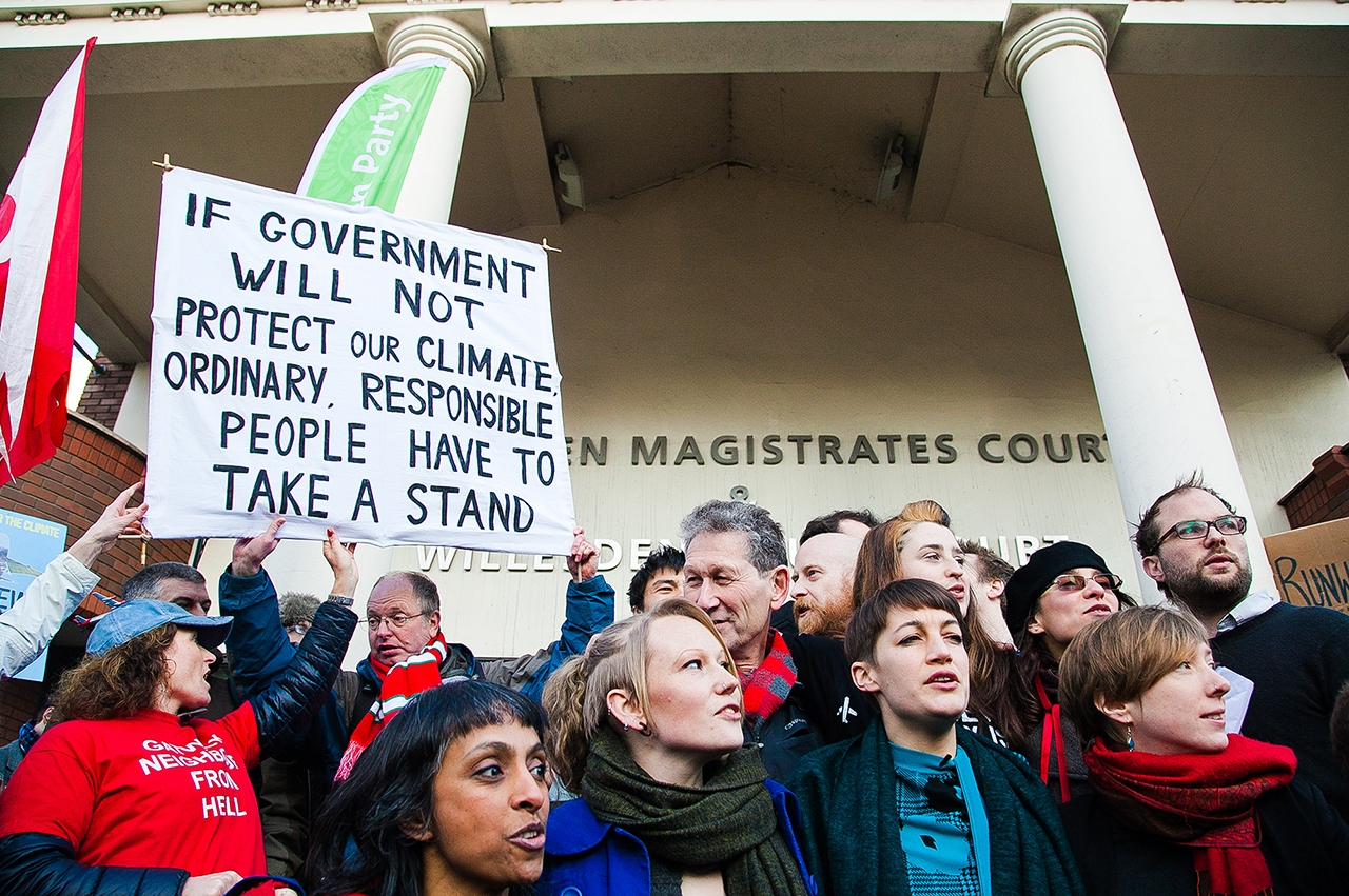 Environmentalists and local Londoners join together at Willesden Magistrates' Court to show support for the Heathrow13 who had been protesting against plans for a third runway (London, UK 24th Feb 2016). Picture by Dinendra Haria/Shutterstock