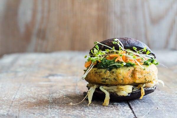 A Portobello Burger recipe a.k.a. THE most perfect vegan, gluten-free, grain-free, healthy burger on.the.freakin.planet! (chickpea flour patties)