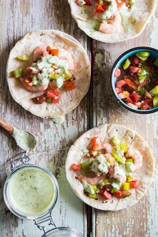 Shrimp Tacos with Cilantro Lime Salsa