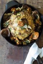 Whole Roasted Cauliflower with Wild Mushrooms