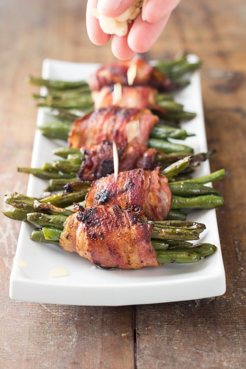 Bacon Wrapped Green Beans is the most PERFECT quick and easy stove-top Thanksgiving, or any other day really, side dish EVER!
