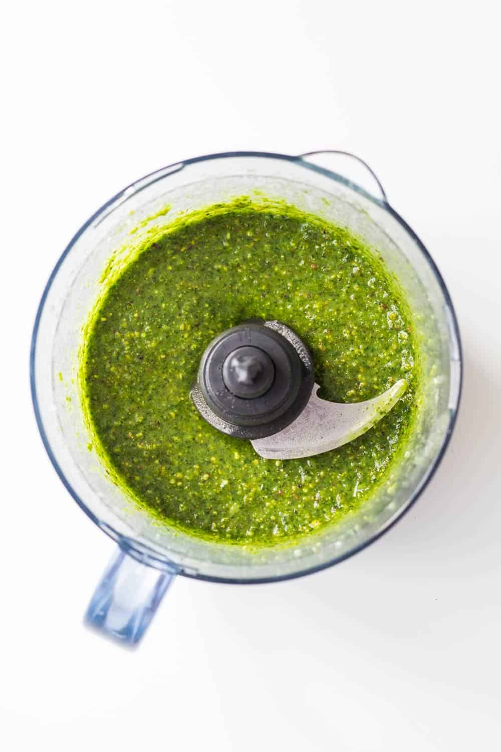 A 5-Minute Basil Pistachio Pesto a.k.a. magical green sauce that tastes as if little fairies had been at work in the kitchen and put some pixie dust in it!