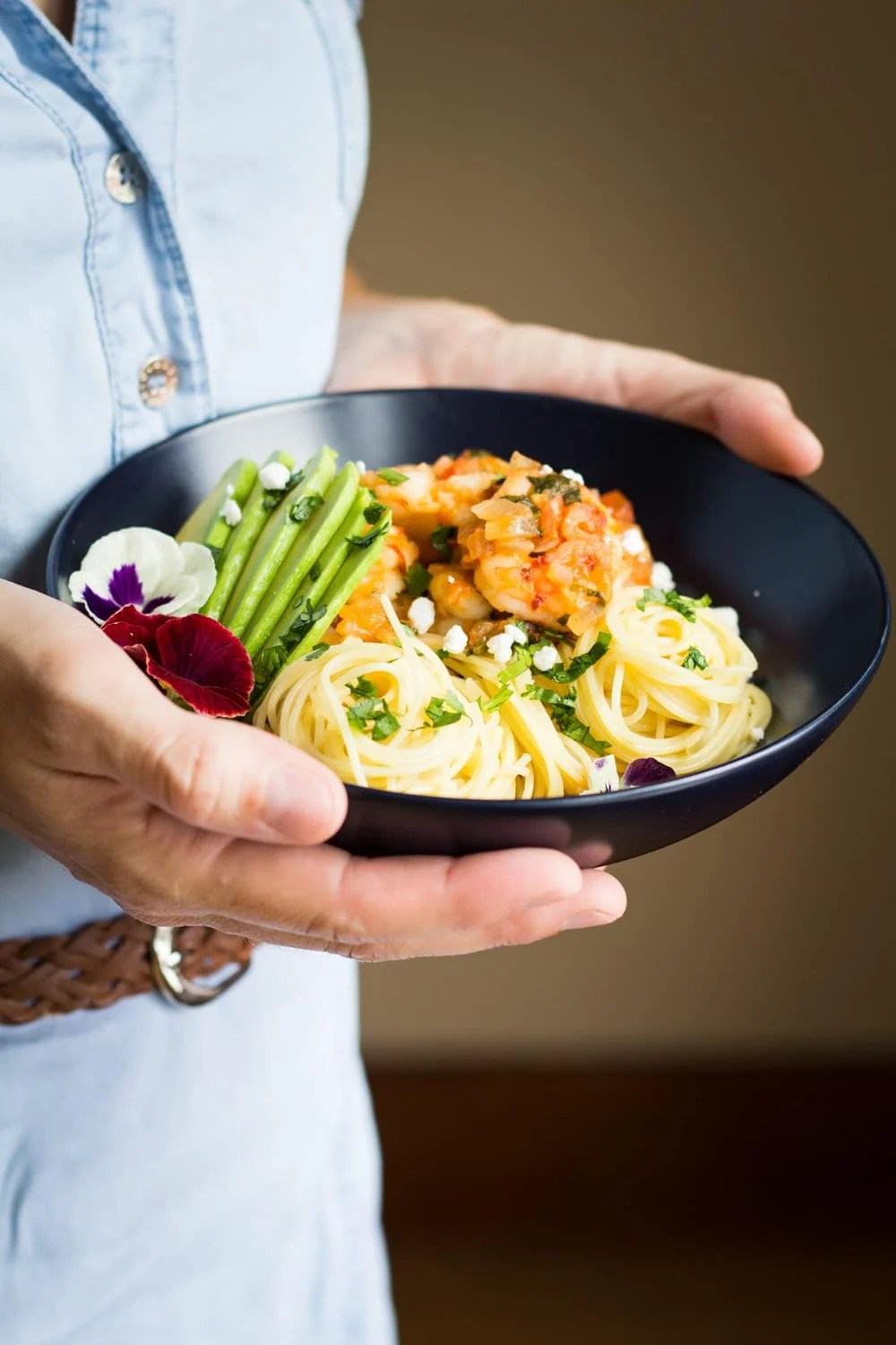 mexican-style shrimp capellini pasta - green healthy cooking