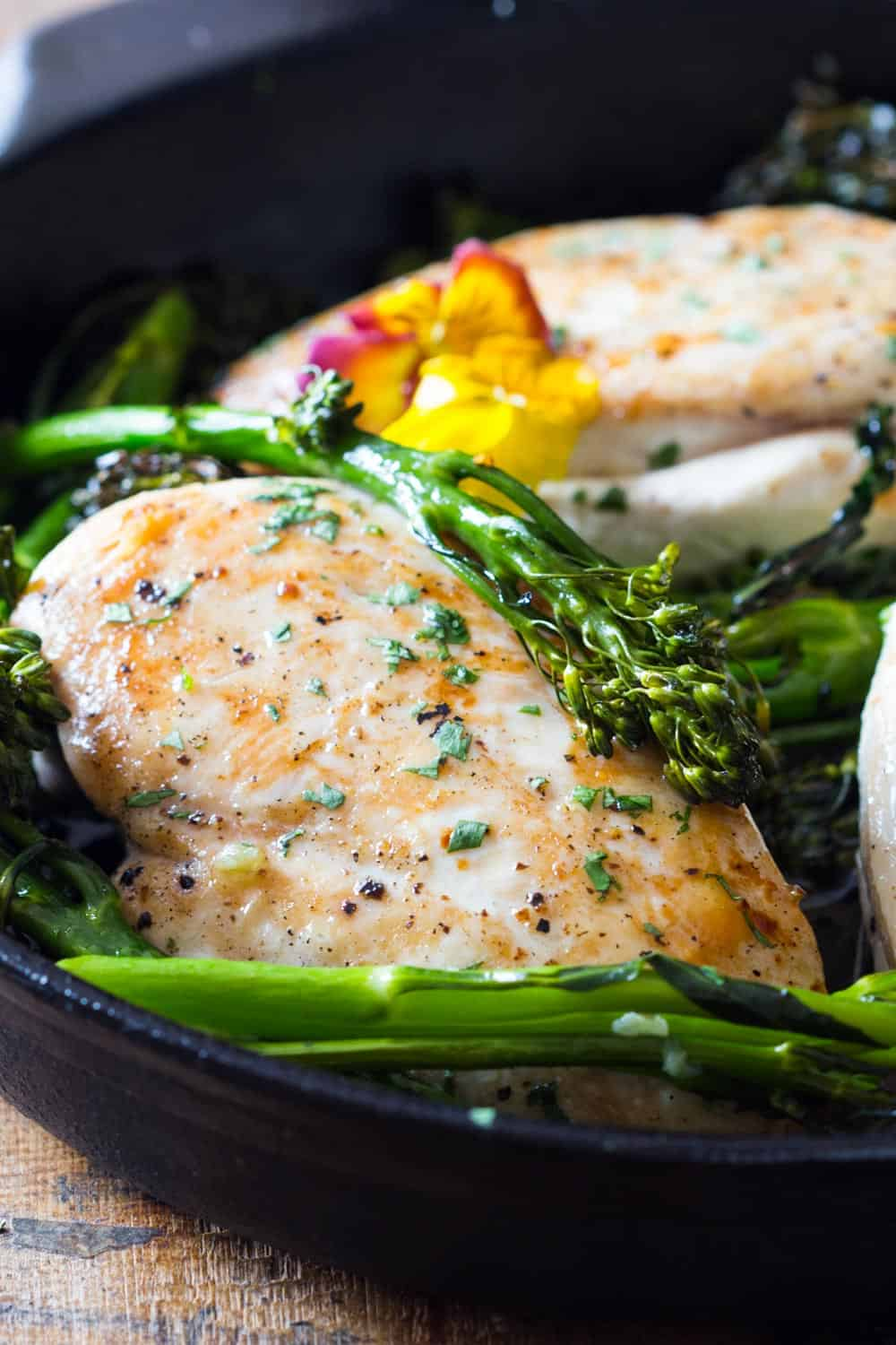 5 minutes prep and one pan is all you need to make this chicken and broccolini. There is no better busy weeknight dinner than one that gives time to have a glass of wine while dinner makes itself ;)
