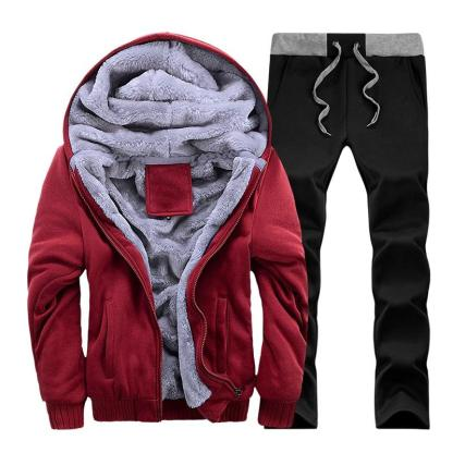 Warm Camouflage Sweatshirt + Pant Tracksuit (Red)