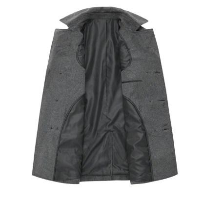 Woolen Double-Breasted Coat (Black/Grey)
