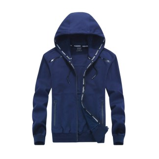 Hooded Zipper Tide Jacket navy blue