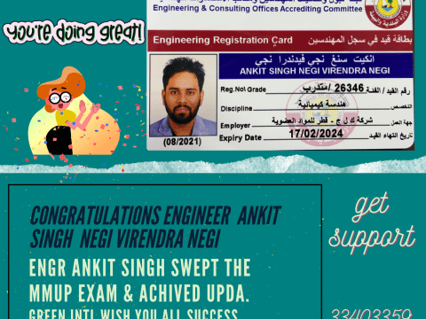 UPDA Exam Qatar Results in April & May 2021 l Congratulations to Engineers who have Obtained MME Engineer Registration Card