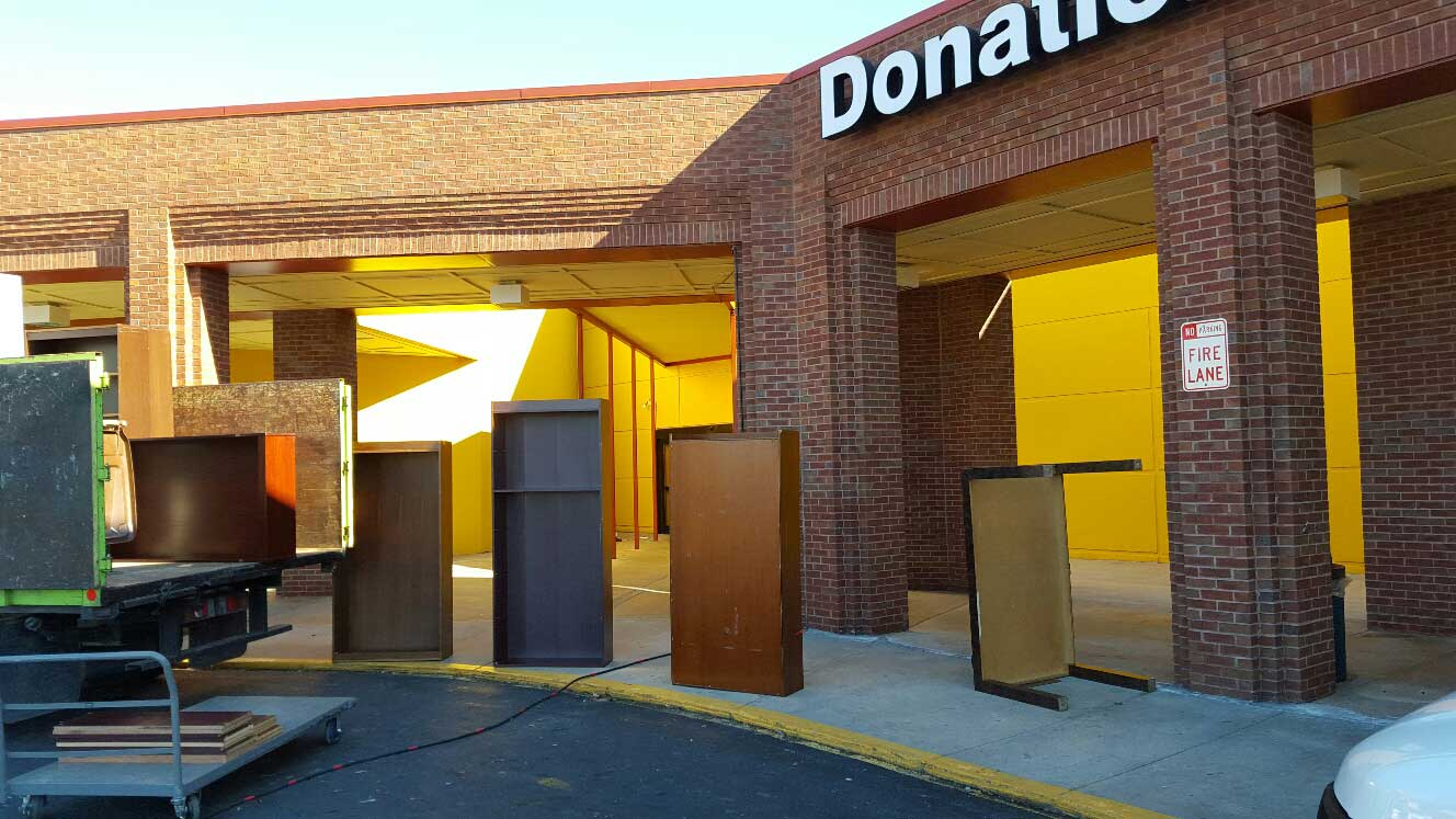 office furniture removal and sent to a donation center