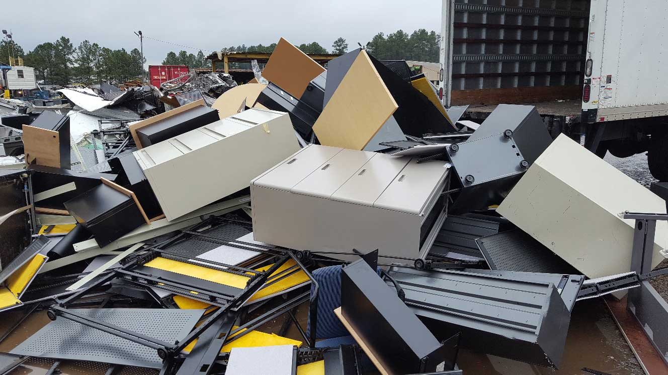 a pile of metal cabinets