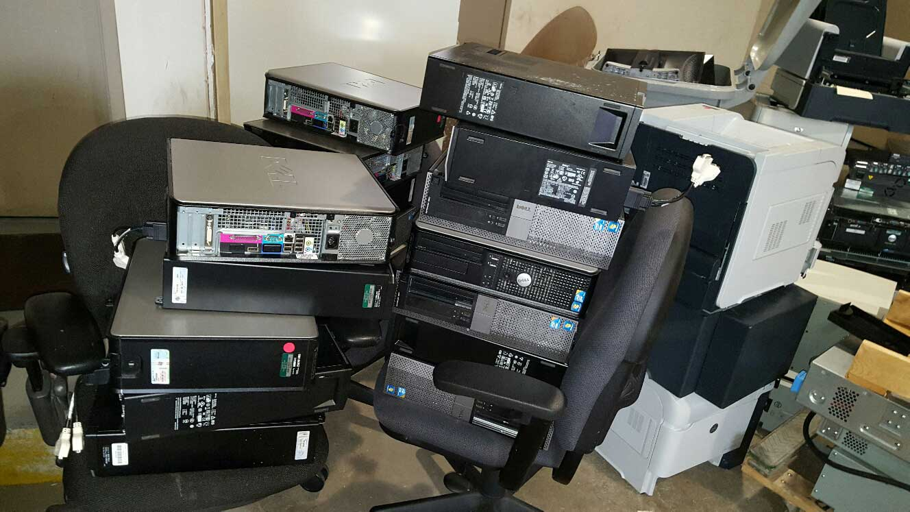 office computers ready for removal