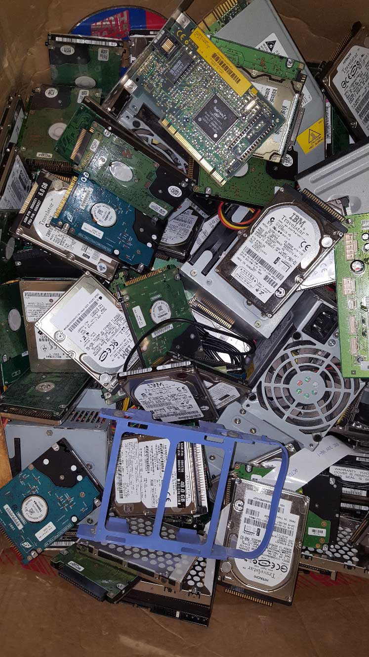 computer parts ready for recycling