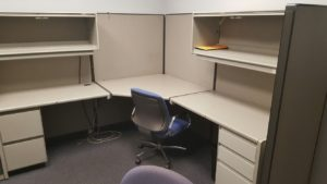 office cubicle ready for removal