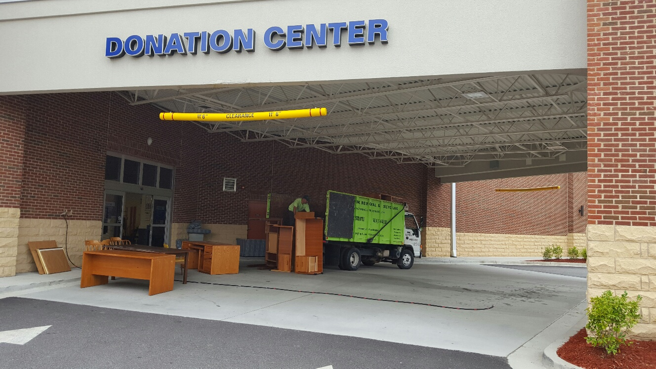 bringing office furniture to the donation center