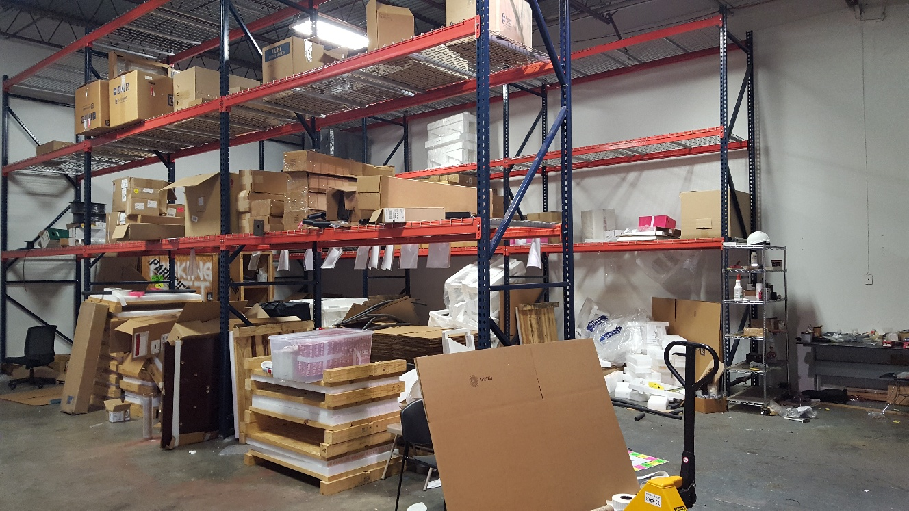warehouse junk shelves removal