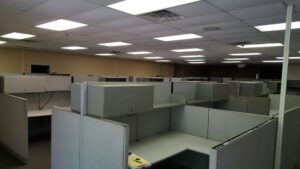 commercial office cubicle disassembly and cleanout