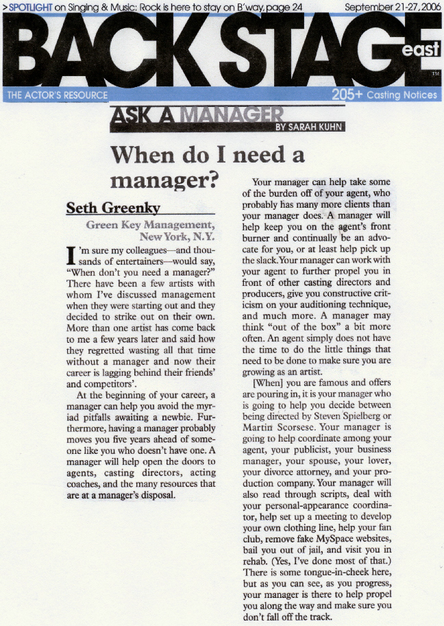 """Green Key Management answers the question, """"When Do I Need A Manager?"""""""