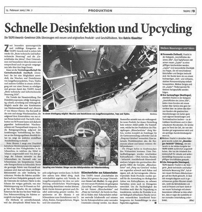 Schnelle Desinfektion und Upcycling