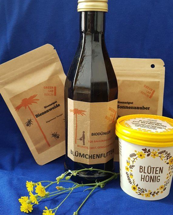 Neues Produkt von GreenLab Berlin inklusive Sonnenblumensamen, Dünger, Honig und Bienenwiese