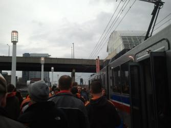 Waterfront Line light rail train at a Browns Game