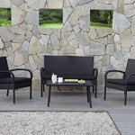 Carlota-Furniture-Patio-Furniture-Set-ideal-for-Outdoor-4-Piece-Modern-Look-Made-of-Black-Wicker-Rattan-with-Black-Detachable-Cushions-Seats-by-Carlota-Furniture-0-1