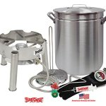 Deep-Fryer-Kit-42-Quart-Aluminum-GRAND-GOBBLER-for-25-LBS-Turkeys-With-Low-Profile-Stainless-Steel-Burner-by-Bayou-Classic-0