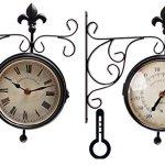 Esschert-Design-Plastic-Station-Clock-and-Thermometer-0