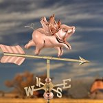 Good-Directions-8840PG-Flying-Pig-Garden-Weathervane-Polished-Copper-with-Garden-Pole-0-0