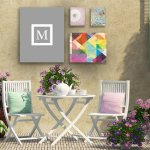 Kess-InHouse-KESS-Original-Monogram-Solid-Grey-Letter-M-Outdoor-Canvas-Wall-Art-20-by-24-Inch-0-1