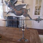 LARGE-Handcrafted-3D-3-Dimensional-FLYING-PIG-Weathervane-Copper-Patina-Finish-0-0