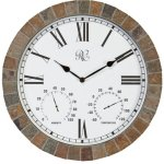 River-City-Clocks-15-Inch-IndoorOutdoor-Tile-Clock-with-Time-Temperature-and-Humidity-Model-1012-15-0