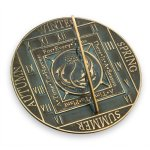 Rome-2337-Season-Cycle-Sundial-Solid-Brass-with-Verdigris-Highlights-105-Inch-Diameter-0