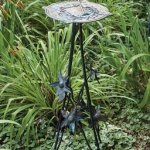 Rome-B86-Floral-Sundial-Pedestal-Base-Wrought-Iron-with-Antique-Finish-32-Inch-Height-0
