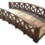 SamsGazebos-Swan-Wood-Garden-Bridge-with-Cross-Halved-Lattice-Railings-6-Feet-Brown-0