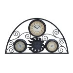 Single-Piece-Black-Decorative-13-Inch-Clock-Thermometer-Metal-For-Long-Lasting-Durability-Gorgeous-clock-Medium-White-And-Black-0