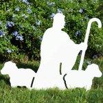 Teak-Isle-Christmas-Outdoor-Nativity-Shepherd-with-Sheep-Figure-0