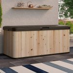 120-Gallon-Cedar-and-Resin-Deck-Box-Large-Storage-Capacity-Stylish-Wood-and-Plastic-Combination-Lockable-Waterproof-Sturdy-and-Long-Lasting-Solid-Cedar-Wood-Construction-Dark-BrownUnfinished-0-0