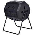 Almacn-42-Gallon-2-Compartments-Compost-Tumbler-Garden-Waste-Bin-Grass-Food-Trash-Barrel-Fertilizer-Patio-Kitchen-Backyard-Yard-Organic-Waste-Fertilizer-Durable-Sturdy-PP-Material-Steel-Construction-0-0