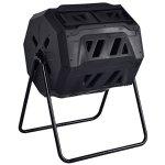 Almacn-42-Gallon-2-Compartments-Compost-Tumbler-Garden-Waste-Bin-Grass-Food-Trash-Barrel-Fertilizer-Patio-Kitchen-Backyard-Yard-Organic-Waste-Fertilizer-Durable-Sturdy-PP-Material-Steel-Construction-0