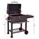 Beenaspiring-2-Wheel-Charcoal-Wood-BBQ-Grill-Outdoor-Patio-Backyard-Cooking-Wheels-Portable-Foldable-Side-Shelf-With-4-Tool-Hooks-Can-Cook-3-Ways-Grilling-BBQ-Slow-Smoking-0-1