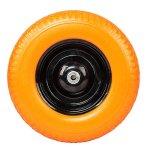 Globe-House-Products-GHP-16-Diameter-58-Ball-Bearing-Axle-Yellow-Solid-Foam-Flat-Free-Wheelbarrow-Tire-0-1