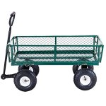 Heavy-Duty-Lawn-Garden-Rolling-Utility-Cart-Wagon-Wheelbarrow-Steel-Trailer-10-Rubber-Air-Tires-Foldable-Frame-Design-Heavy-Duty-Construction-Perfect-For-Gardening-Planting-Use-330-LBS-Load-Capacity-0-1