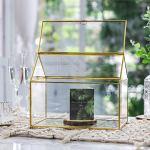NCYP-Large-Inches-Geometric-Glass-Card-Box-Organizer-Terrarium-Centerpiece-Decor-Tabletop-Planter-Handmade-Copper-House-Shape-Window-Flower-Pot-for-Plants-Succulents-102-X-83-X-63–0-0