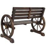 NEW-Patio-Garden-Wooden-Wagon-Wheel-Bench-Rustic-Wood-Design-Outdoor-Furniture-0-2